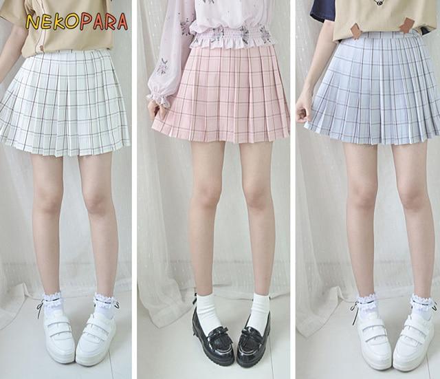 Plaid Checks Summer Women's Japanese Style A Line Mini Skirt Pleated Skirt Pink & Sky Blue & Beige by Neko Para