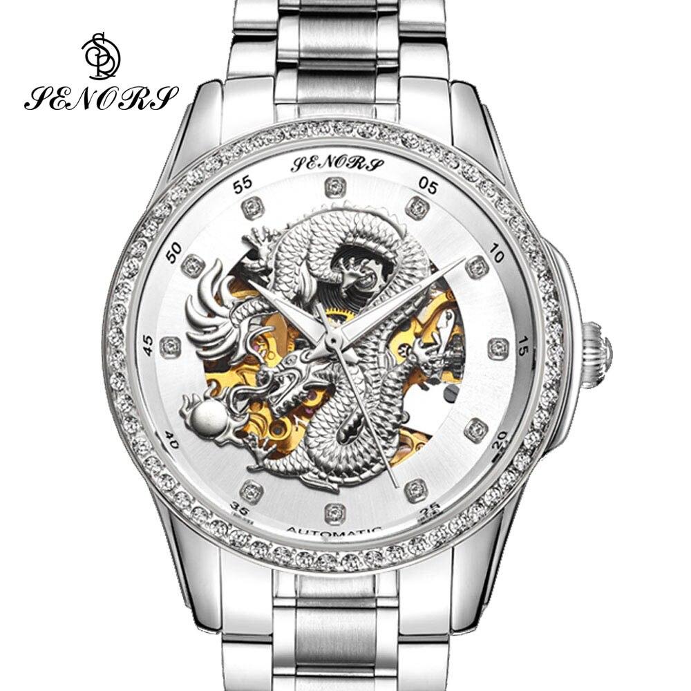 2017 Nieuwe Automatische Mannen Luxe Zakelijke Horloge 3D Carving Dragon Gold Skeleton Horloge Mannelijke Diamant nachtzicht-in Mechanische Horloges van Horloges op  Groep 1