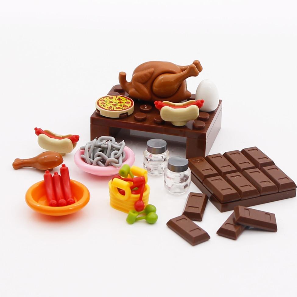 Bricks City Accessories Foods Chicken Hot Dog Pizza Chocolate Friends Figures Building Blocks LegoINGlys City Parts Creator Toys