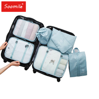 Travel Packing Cube Organizer For Suitcase 7PCS/Set Women Mesh Travel Bags Luggage Clothe Organiser 2019 New