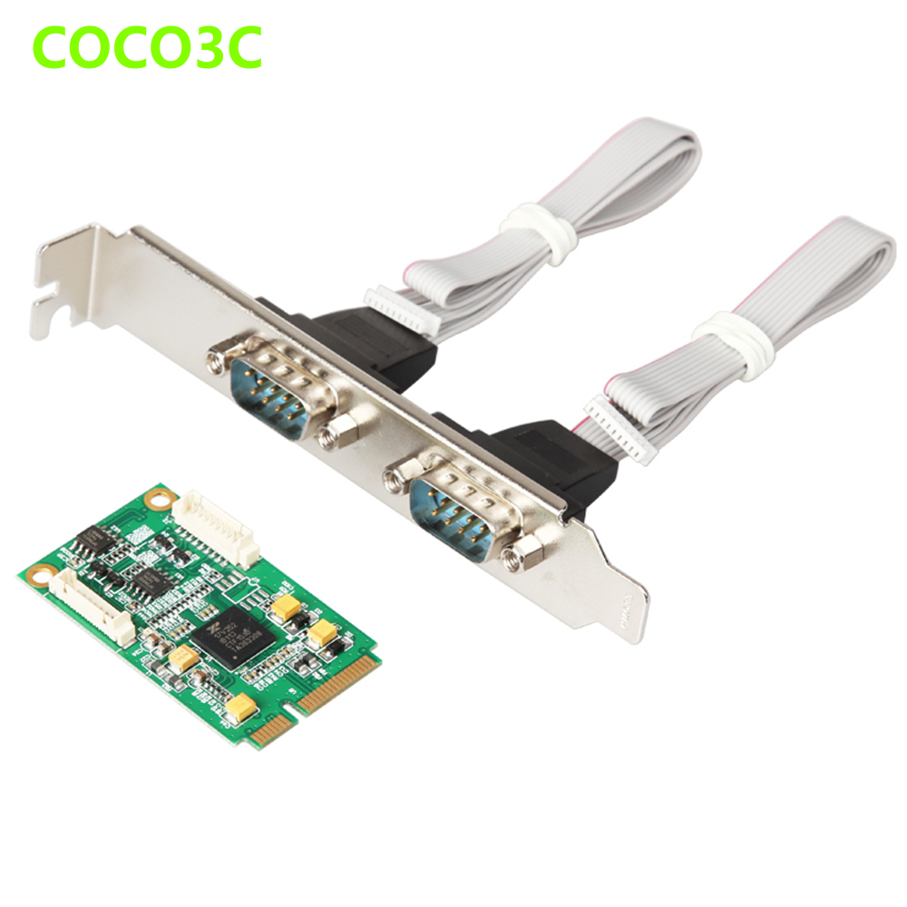 Mini PCIe To 2 RS422 RS485 Ports adapter for Mini ITX motherboard Mini PCI express DB9 Ports Controller Card 2 ports rs485 422 pci card optical isolation surge protection 1053 chip