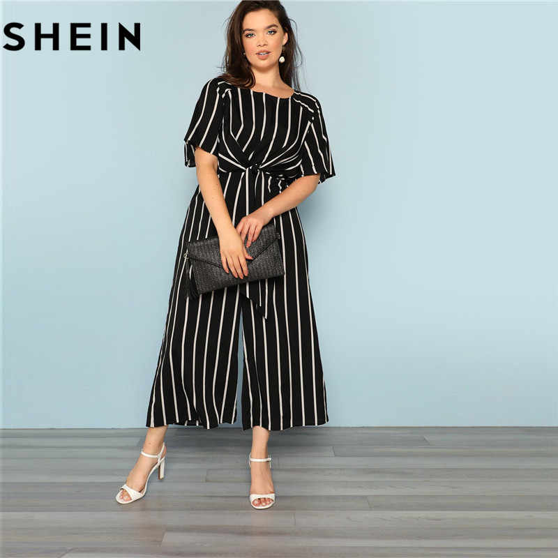 39e28072e24 ... SHEIN Black And White Striped Raglan Sleeve Plus Size Belted Women Wide  Leg Jumpsuits Office Lady
