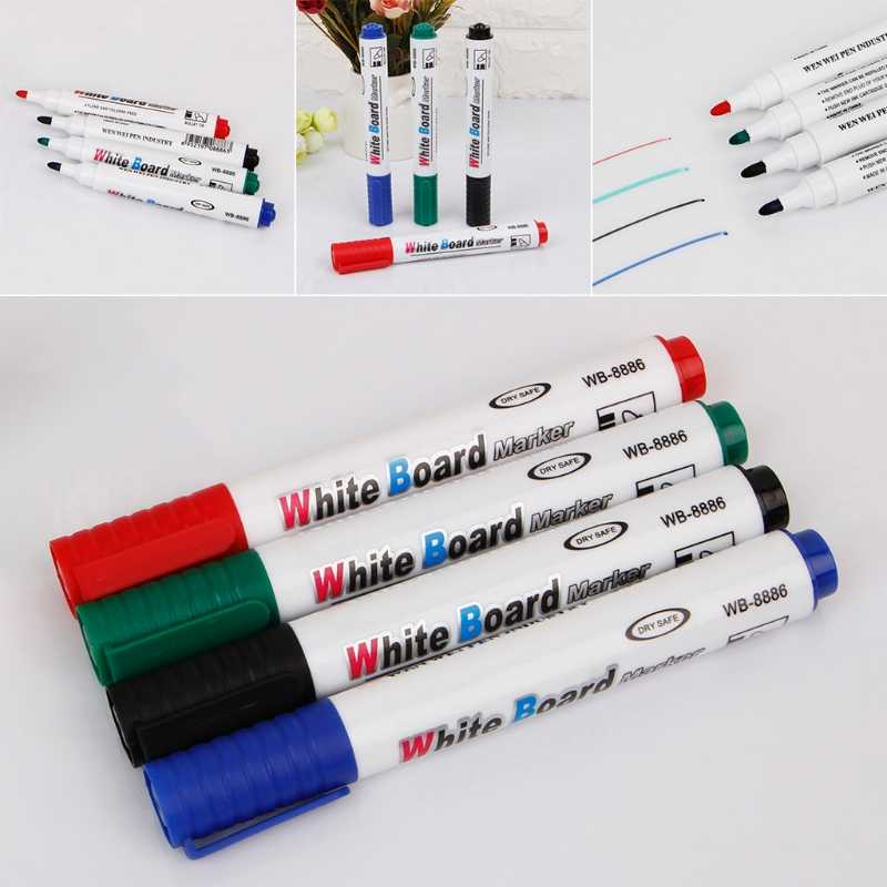 4 Colors Erasable Whiteboard Marker Pen Environment Friendly Marker Office School Home