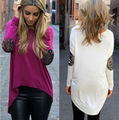 aliexpress glitter mosaic - irregular foreign trade long sleeved shirt T-shirt coat lady girl