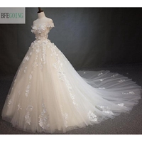 Strapless Appliques Tulle Floor Length A Line Wedding Dress Off The Shoulder Cathedral Royal Train Custom