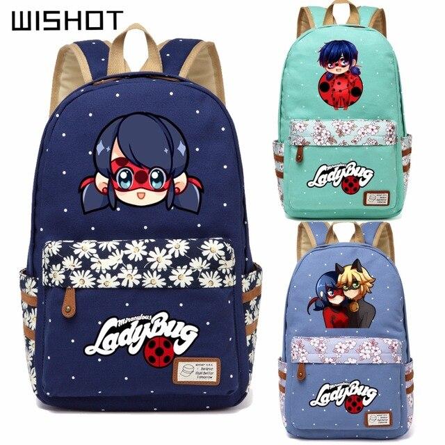 Wishot anime miraculous Ladybug bolsa flor ola punto mochila para ...