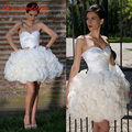 2016 Ivory Short Homecoming Dresses Off the Shoulder Sweetheart Tulle Ruffles Tiered Fashion Prom Graduation Gowns Custom Made