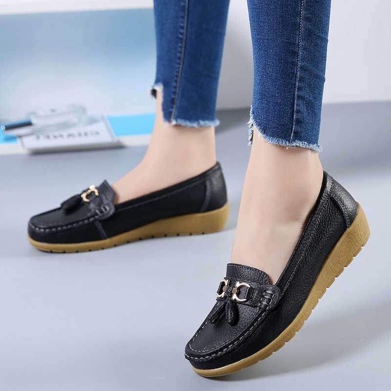 Genuine Leather Flats Shoes Women
