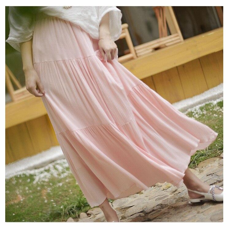 Sherhure 2018 Women Summer Long Skirt Cotton Linen Women Skirts Pink High Waist Boho Women Maxi Skirts White Faldas Saias Jupe