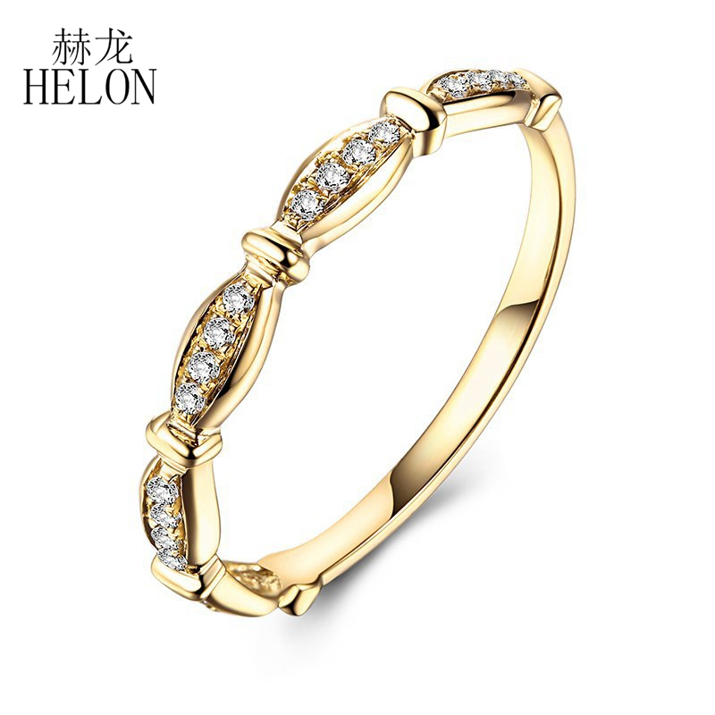 HELON Exquisite Diamonds Engagement Band Solid 10k Yellow Gold Pave Natural Diamonds Wedding Ring Fine Jewelry