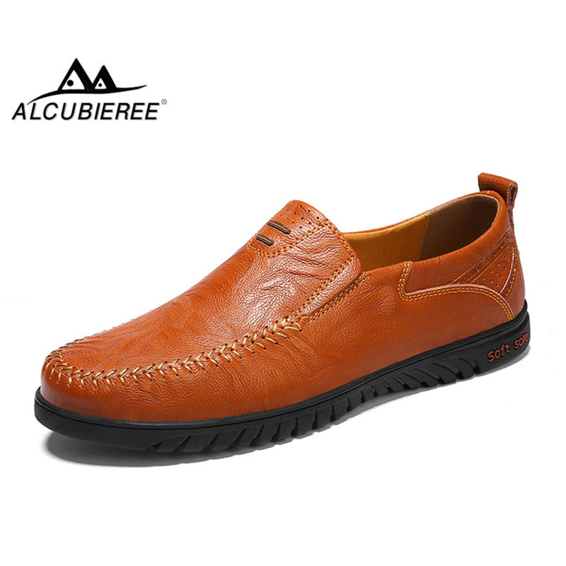 ALCUBIEREE Brand Casual Moccasins Mens Slip-On Loafers Men Breathable Driving Shoes Handmade Boat Shoes for Men Big Size 46 klywoo handmade men leather shoes mens loafers summer autumn moccasins breathable mens shoes casual driving sapato masculino