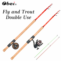 fly fishing rod ul spinning rod ultra light telescopic trout rod high carbon 2.40m 2.70m 1.5g 12g OBEI