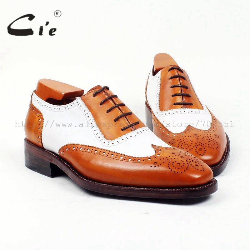 cie Free shipping Custom handmade size 38-47 bespoke brogues men's oxford shoe calf leather inner/outsole brown/white shoe OX397 cie free shipping handmade tassels buckle loafer brown white matching calf leather bottom outsole men shoe 3 crafts loafer66