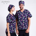 Full set medical doctor nurse uniform short sleeve working split floral printed scrubs surgical operation overalls clothing Anno