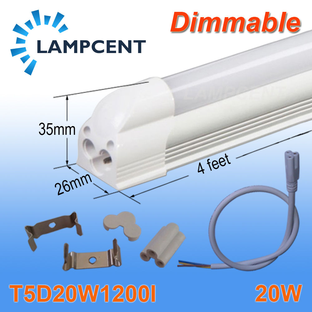 20/Pack Dimmable LED Integrated Tube T5 Bulb 4FT 20W SMD2835 Frosted Clear Cover 2016 integrated led tube light t5 900mm 3ft led lamp epistar smd 2835 11watt ac110 240v 72leds 1350lm 25pcs lot