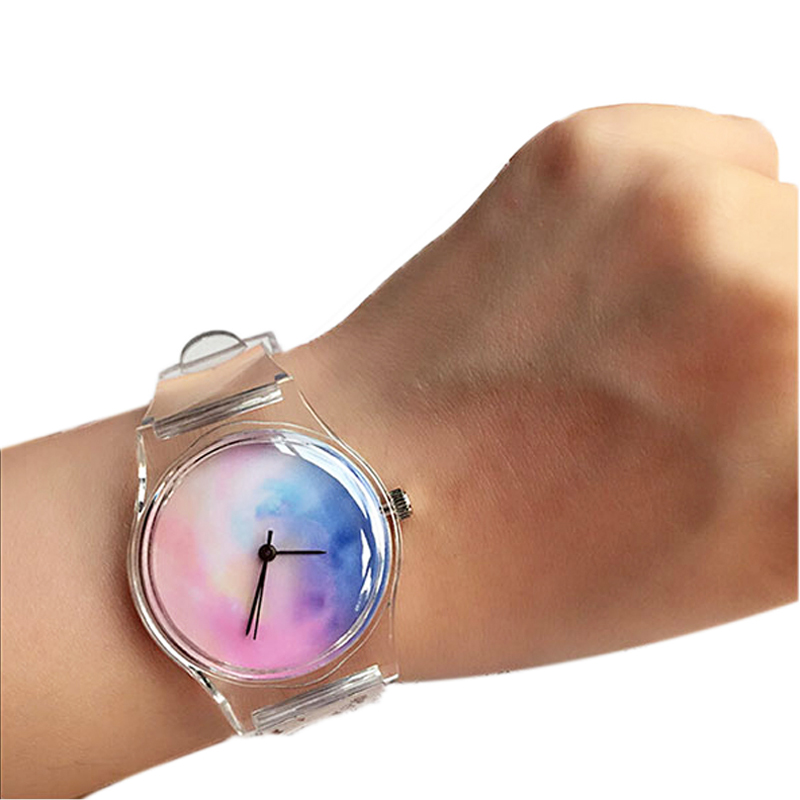Kvarts Transparent Klocka Klockor Armbandsur Märke Lyx Enkel Kvinna Klocka Armbandsur Lady Maple Bladharts Quartz Klocka
