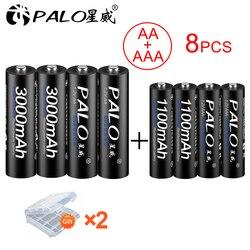 PALO 4 Uds 1,2 V 3000mAh AA pilas recargables + 4 Uds 1100mAh AAA pilas NI-MH AA AAA pilas recargables para cámara de juguete