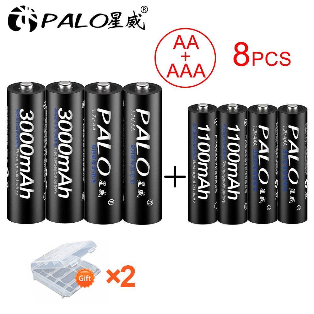 PALO 4 pièces 1.2V 3000mAh AA piles rechargeables + 4 pièces 1100mAh AAA piles NI-MH AA AAA batterie rechargeable pour appareil photo jouet