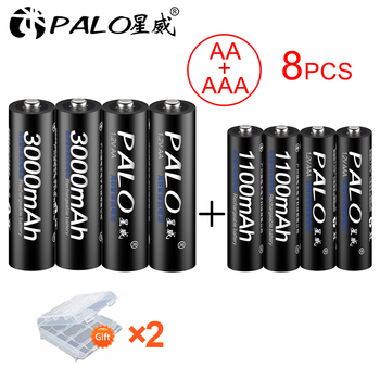 PALO 4Pcs 1.2V 3000mAh AA rechargeable Batteries+4Pcs 1100mAh AAA Batteries NI-MH AA AAA Rechargeable Battery for Camera toy 4pcs palo 4000mah 1 2v c size ni mh nimh rechargeable battery with low self discharge for household flashlight water heater toy