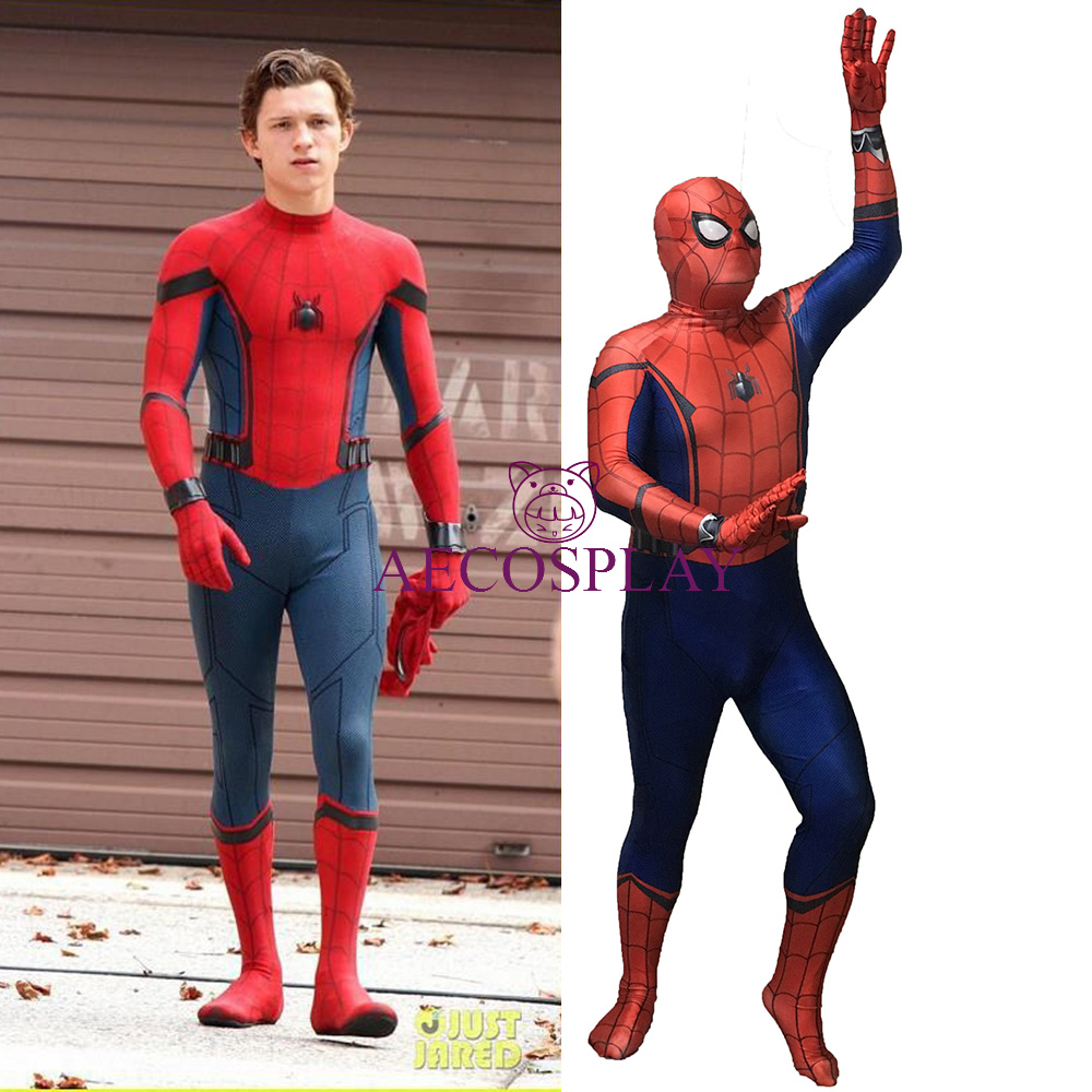 2017 Spider-Man Homecoming Cosplay Costume 3D Printed Spiderman Homecoming Spandex Suit Newest Spidey Bodysuit Custom Made