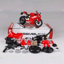 1:12 maisto ducati 1199 liga de brinquedo da motocicleta montado a motor do carro veículo kits de construção brinquedos para crianças