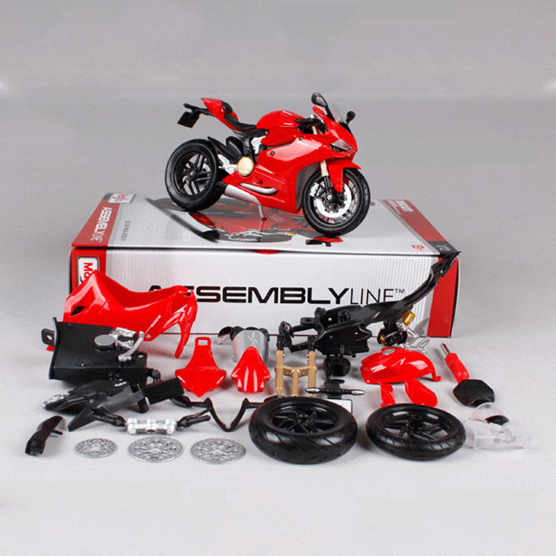 112 Ducati 1199 Motorcycle Toy Alloy Assembled Motor Car Vehicle Building Kits Toys For Children
