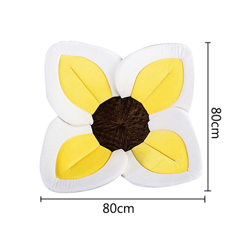 OLOEY Baby Bath Flower Pad for Baby Blooming Sink Bath Infant Sunflower Cushion Mat Bathtub Mat Newborn Shower Seat Accessories
