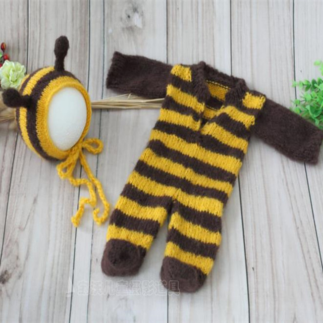 Hot Sale Mohair Baby Hat and Pants Baby Clothing Set Newborn Mohair Bee Hat  Animal Bonnet Footed Romper hotography Props e9f96302e083