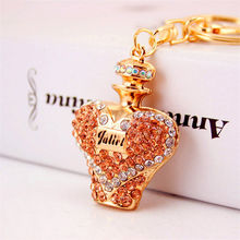 Loving Heart Design Perfume Bottle Rhinestone Keychains Keyrings For Car Purse Bag DIY Pendants Key Chains Rings Women Gifts