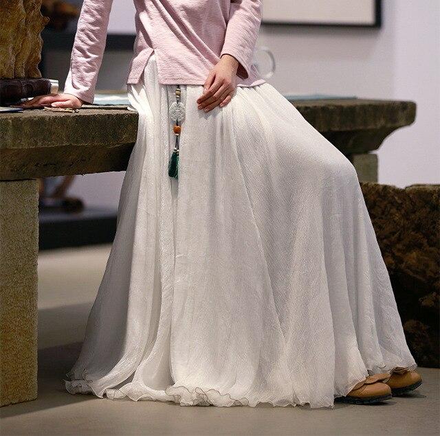 879f08951d23d0 € 30.76 15% de réduction|Été Preppy Long étage longueur plissée femmes 3  couches jupe en mousseline de soie, Extra Large ourlet blanc noir ...