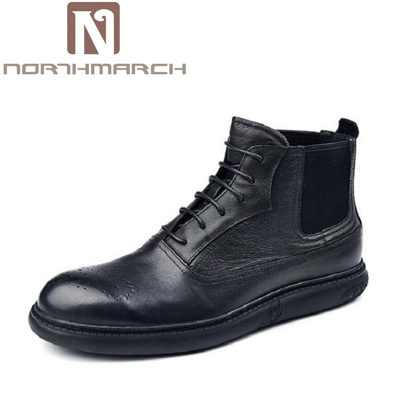 NORTHMARCH Brand Winter Mens Boots Fashion Lace Up Man Shoes Ankle Boots For Men Vintage Casual Mens Shoes Bota Masculina Couro hot sale men s shoes casual shoes for men winter autumn low top patchwork canvas fashion lace up mens classic casual shoes