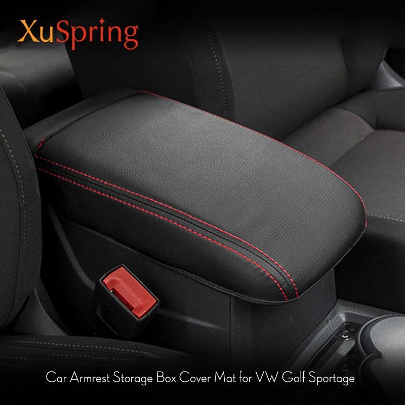 For VW Golf Sportsvan 2016 2017 2018 Console Center Armrest Storage Box Pad Cover Mat Protective Cushion Refit