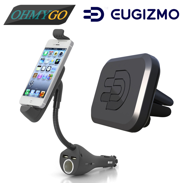 Car Phone Holder Stand with Dual USB Charger Cigarette Lighter for IPhone 5 6 +Car Magnetic Vent Mount for Universal Cell Phones