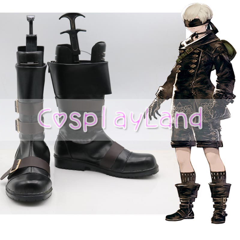 Game NieR Automata YoRHa No. 9 Type S Cosplay Boots Shoes Party Cosplay Boots Custom Made Men Shoes