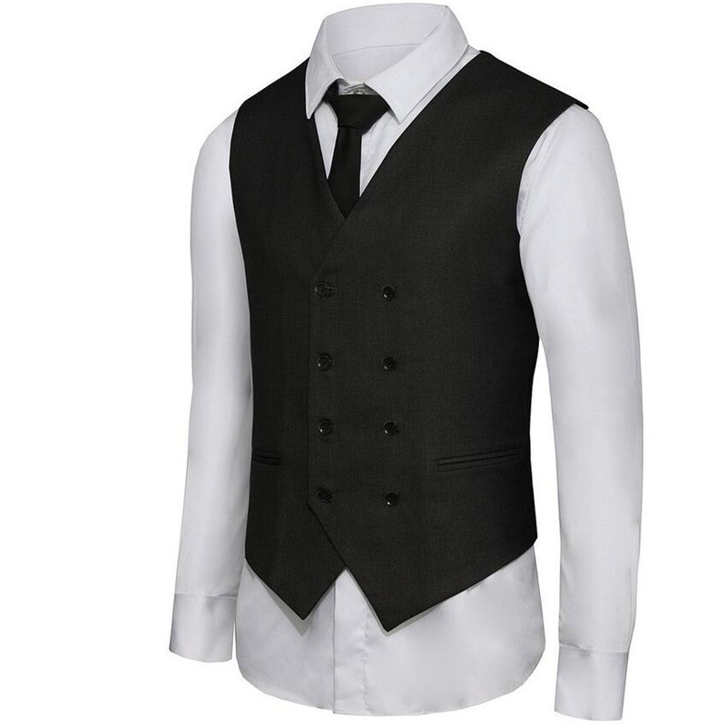 2017 Limited New Broadcloth Cotton Vests Suit Waistcoat Men's Double-breasted Leisure Business Vest Custom Grey Double Breasted