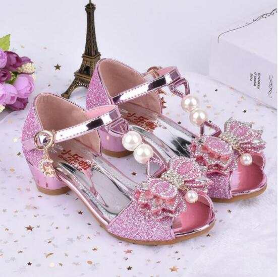 Pink Sandals For Girl Summer High Heels Gilr Children Gold Sivler Sandals Princess Cute Fashion Bow Student Shoes 3 Colors 6-309