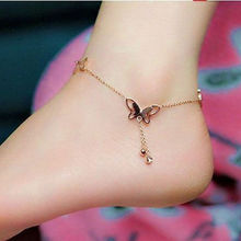 Classic Chain Women's Sexy Barefoot Anklet Rose Gold Drop Crystal Ankle Bracelet