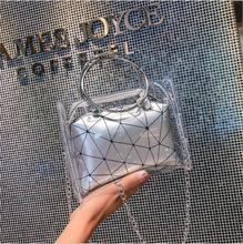 Summer Women Transparent Bag Clear PU Jelly Tote bags metal round handle Shoulder Bags Female handbag Casual Crossbody