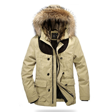 Clearance Cheap 100 Cotton High Quality Men Clothes Winter English Long Fur Cotton Padded Jacket