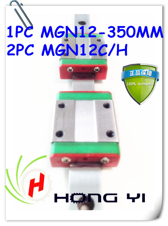 Mini MGN12 12mm miniature linear rail slide =1pcs 12mm L350mm rail+2pcs MGN12H /C carriage for X Y Z Axies kossel pro miniature 7mm linear slide 2pcs mgn7 450mm rail 2pcs mgn7h carriage for x y z axies 3d printer parts