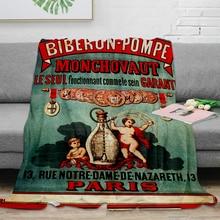 Vintage Poster-Biberon-Pompe Decke Warme Mikrofaser Decke Flanell Decke