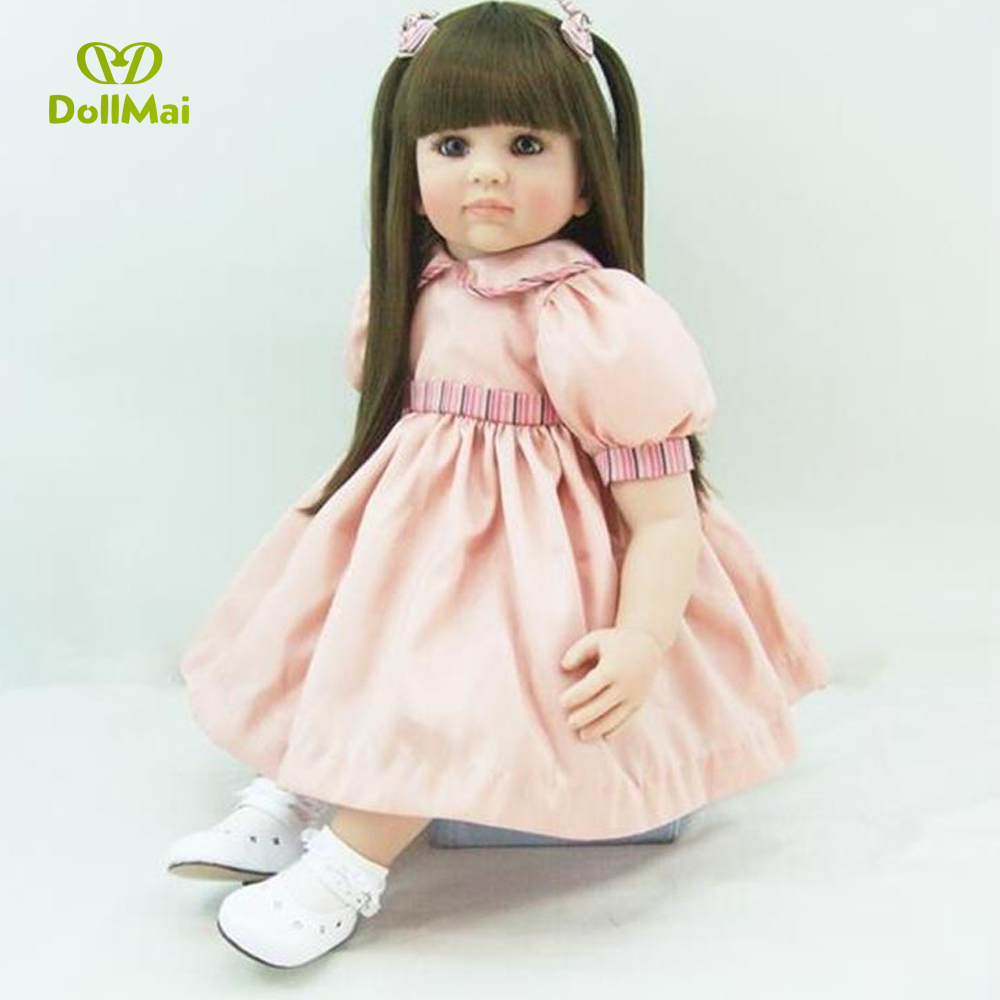 Handmade cute long straight hair lovely 2256cm bebe alive vivid  princess Soft Silicone Reborn baby doll Toys gifts collection Handmade cute long straight hair lovely 2256cm bebe alive vivid  princess Soft Silicone Reborn baby doll Toys gifts collection