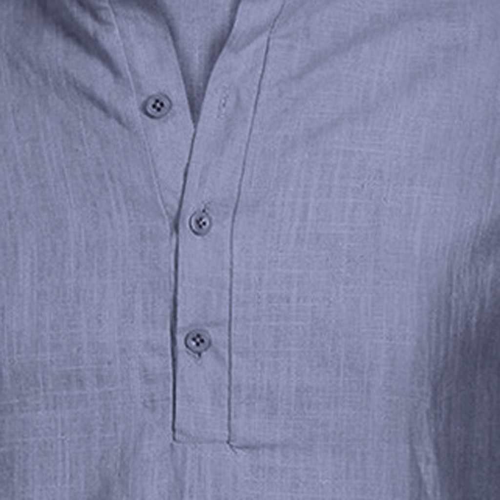 Mùa Hè nam Cổ Vải Lanh Cotton Áo Thun Rời Áo Áo Thun Tay Ngắn In Chữ manica corta da Uomo 2019 Thời Trang Mới # T10