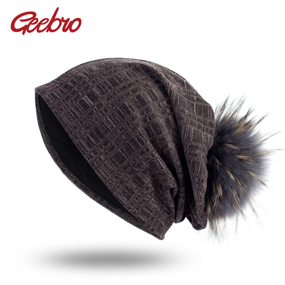 Geebro Women's Plain Color Plaid Beanie Hat with Raccoon Pompom Spring Casual Knitted Hats For Female Women Skullies Beanie Hat
