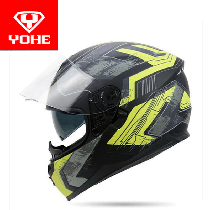 2017 summer New double lenses YOHE Full Face motorcycle helmet YH-967 full cover motorbike helmets made of ABS and PC lens visor 2017 summer new yohe full face motorcycle helmet yh 970 motocross motorbike helmets of abs 10 kinds of colors size m l xl xxl