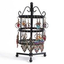 Nuevo 72 Agujero Negro de Metal Pendientes de Perlas Collar Pulsera Redonda Giratoria Soporte de Exhibición de Accesorios de Joyería Fina Para Las Mujeres