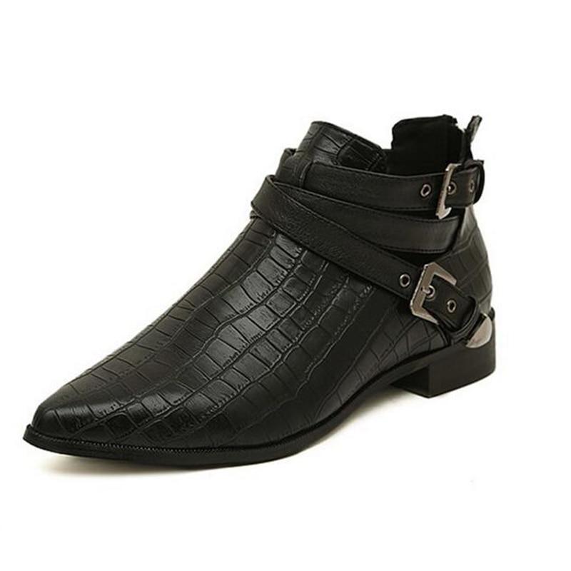 Boucle Mode vin Belle Pointu Printemps Chaussures Bottes Cuir Bande En Crocodile Et Femme Noir Femmes Bout De Rouge Z181 Pu Automne Cheville tqZwpRxw