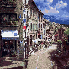 Quiet Town Scenery Sky Oil Painting By Numbers DIY Abstract Digital Picture Coloring On Canvas Unique Gift Home Decor