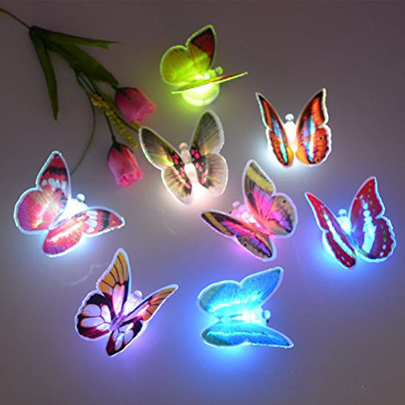 1 PCs Colorful Luminous Butterfly Night Light Home Room Party Wedding Decoration Lights Lamp With Sticker Children Kids Gift