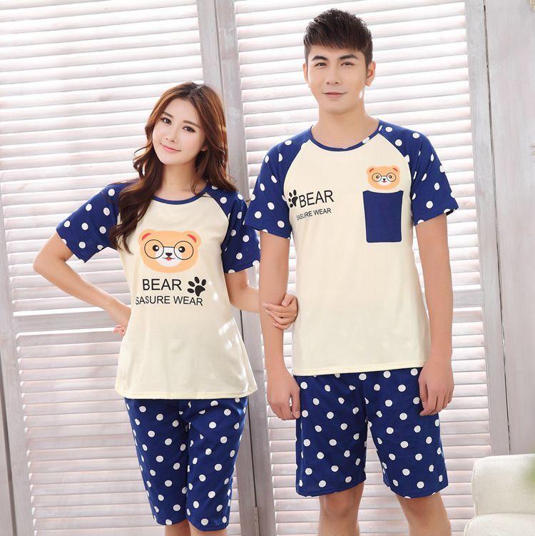 New Summer Short sleeve Lovers pajamas men &women ...